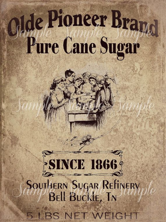 Primitive Vintage Pure Cane Sugar Jpeg Digital  Image Feedsack Logo for Pillows Pantry Labels Hang tags Magnets Ornies