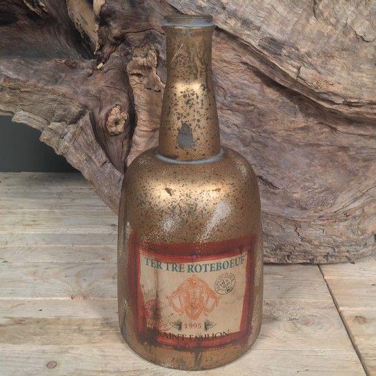 Γυάλινη Χρυσή Vintage Μποτίλια Μεγάλη http://nedashop.gr/Spiti-Diakosmhsh/gyales/vintage-megalh-xrysh-vintage-mpotilia