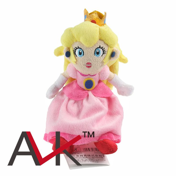 Fast shipping 5pcs/lot Super Mario bros 22CM  Princess Peach Embrace star mario plush toy doll,Kids Toys #Affiliate