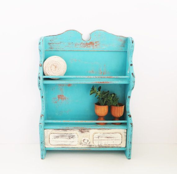 Large Spice Rack  Storage Shelf  Turquoise Ivory by GreenFoxStudio, $45.00