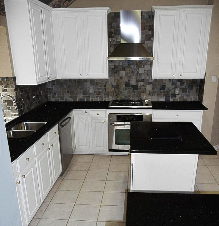 Solid Glass Backsplash Kitchen: Black Galaxy With White Painted Cabinets And Slate