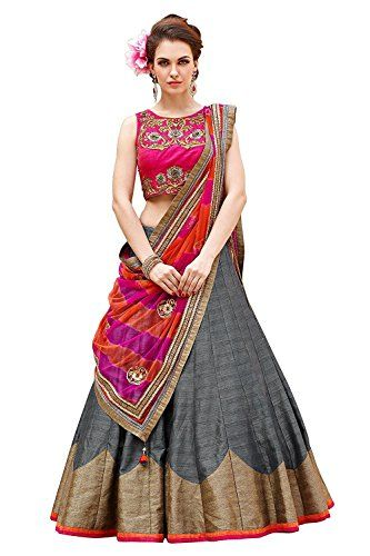 b819402f2030a5 Pramukh Saris Women s Party Wear Navratri New Collection Special Sale Offer  Bollywood Grey Silk Heavy Bridal Wedding Lehenga Chaniya Ghagra Choli  bridal ...