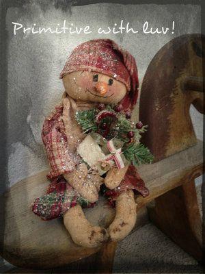 Primitive Winter Christmas Snowman