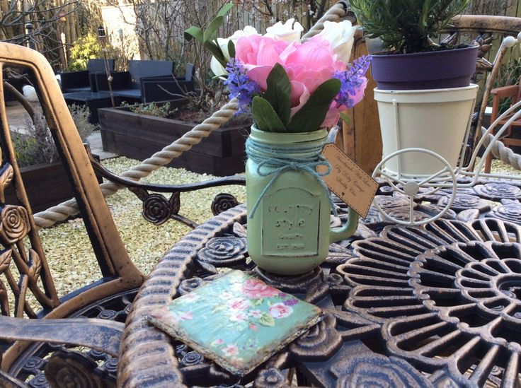 Hand painted fresh spring green Mason jar with handle vase by DottyCottage1 on Etsy