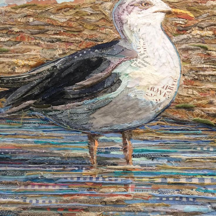 SEAGULL  (detail / work in progress)  100% COLLAGE  ( 30 x 40 cm )  Fabric and paper on plywood / ©philippe patricio 2016 / all rights reserved