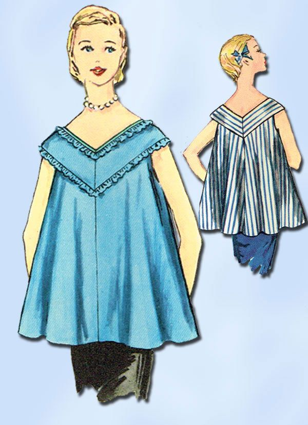 1950s Vintage Simplicity Sewing Pattern 1100 Uncut Misses Maternity Blouse Sz 12…