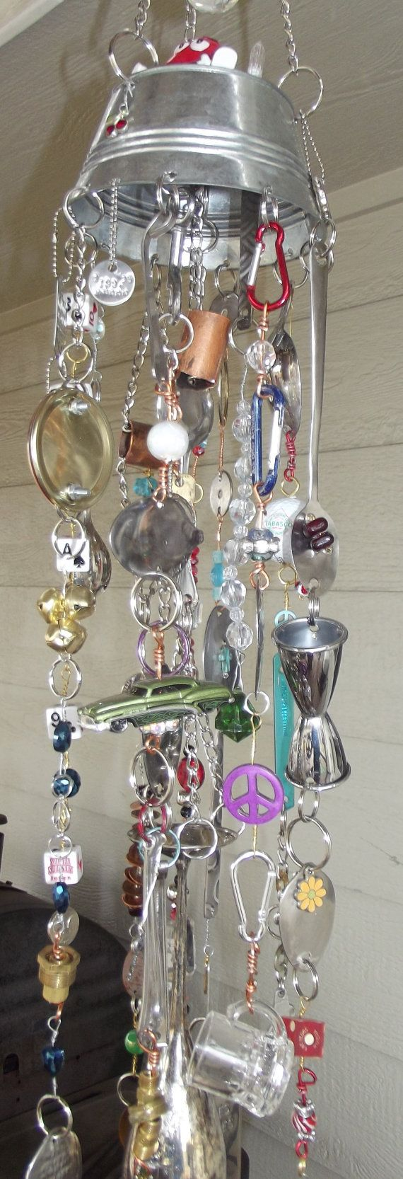 Wind Chime with little bucket top by Junk Drawer on Etsy,