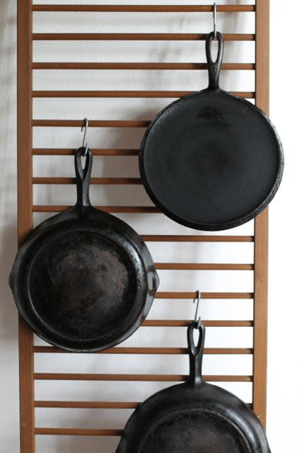 picture of kitchen pan storage...hanging.