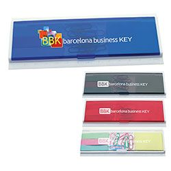 #31703 | Horizontal Stationery Set. Great addition to your desk with all the essential desk needs including 10 paper clips, 3 colours of adhesive flags, an adhesive pad and a ruler. Compact and flat with a large imprint area in 4 different translucent colours. For details on how to order this item with your logo branded on it contact ww.fivetwentyfour.ca