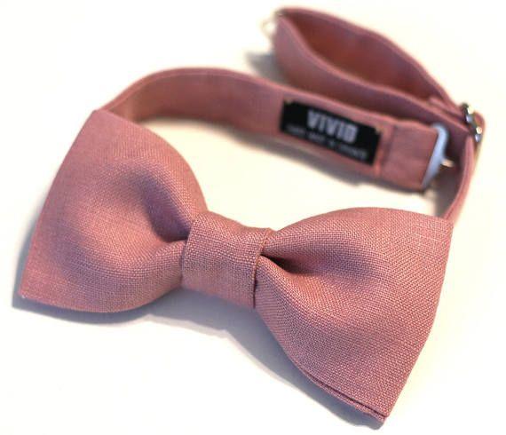 Dusty Pink Bow Ties - Dusty Rose, Rose Quartz - Linen Bow Tie - Textured Bowties - Groomsmen - Blush Pink Bow Ties Wedding - Custom Bow Ties