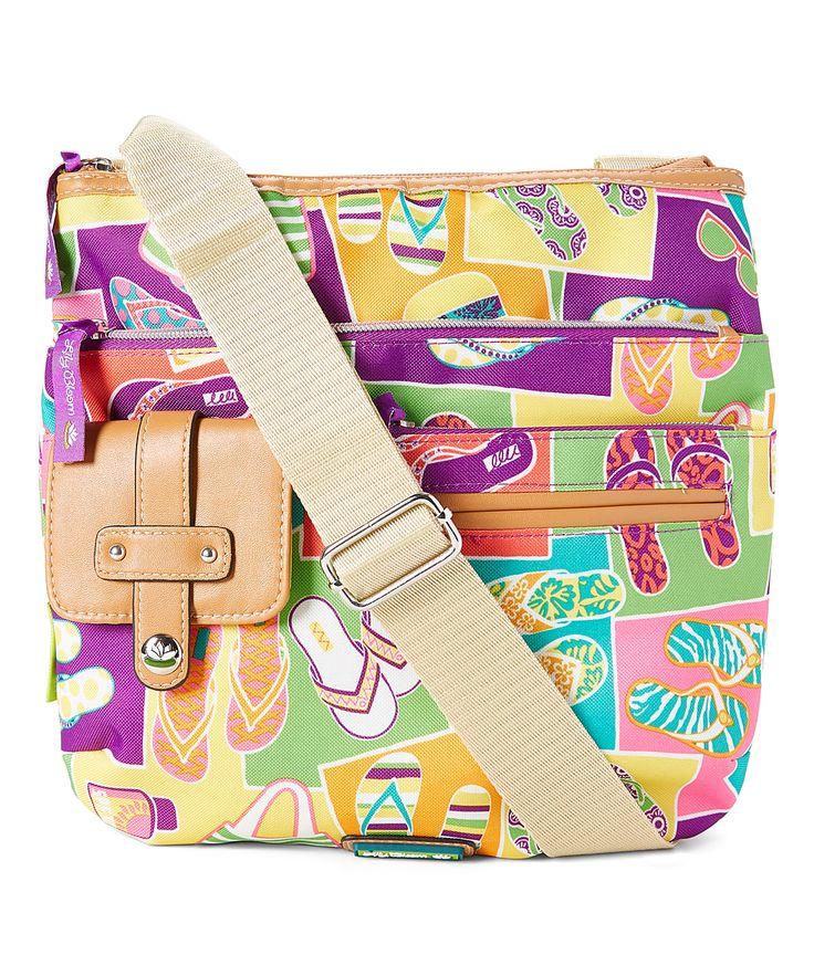 Purple & Beige Flip-Flop Camilla Crossbody Bag