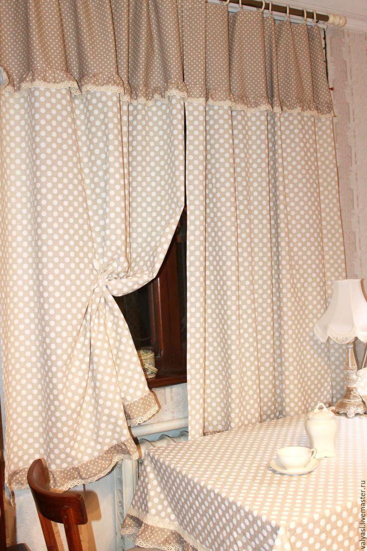 Купить Льняная скатерть в стиле  Прованс в горошек - бежевый, любимая кухня, скатерть льняная