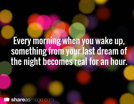 Prompt -- every morning when you wake up, something from your last dream of the night becomes real for an hour