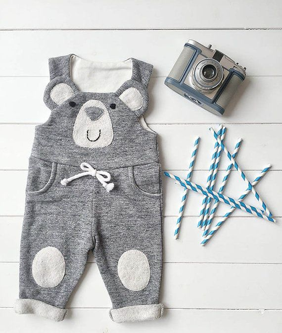 Baby Boy Baby Girl baby Bib Overalls, Dungarees, with bear, plush Jumpsuit for baby, Onesie for babies, Little Bear Baby Romper