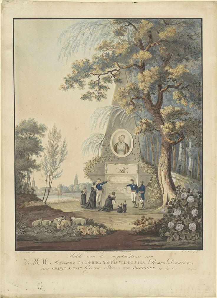 A. Lutz | Allegorisch grafmonument voor Wilhelmina van Pruisen, 1820, A. Lutz, J. Groenewoud, 1820 | Allegorisch grafmonument voor Wilhelmina, overleden 9 juni 1820. Piramide tussen bomen en klimop, op de zuil een ovaal portret van de overleden prinses. Aan de voet van het monument is de koninklijke familie verzameld. Op het monument een doodshoofd, een inscriptie en de levensjaren van de prinses. Rechtsonder 'Proefdruk.'.