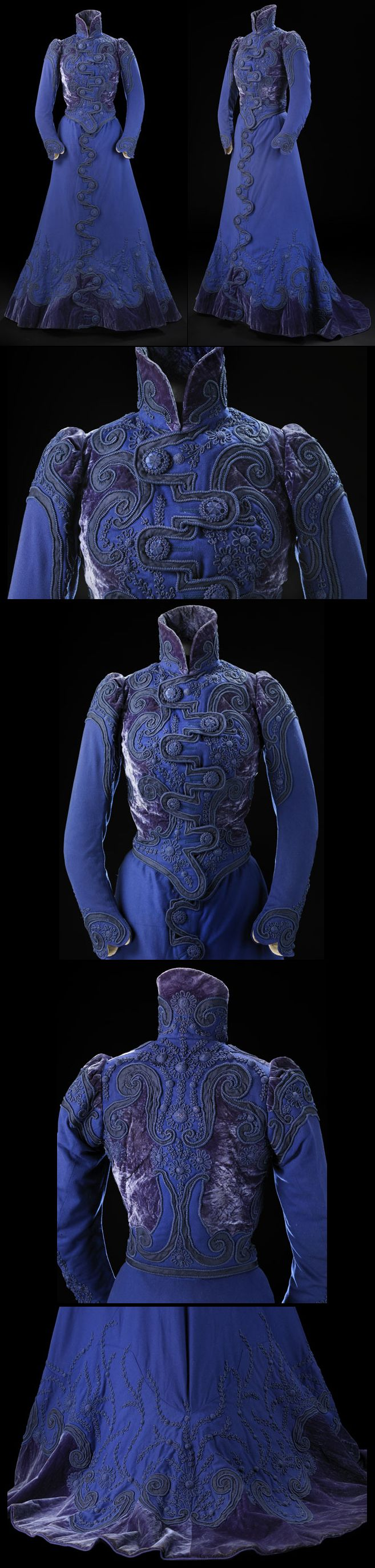Woman's dress, Going-Away or tailor-made dress, consisting of bodice, in royal blue wool facecloth (1899). Hayward maker.  http://collections.glasgowmuseums.com/mwebcgi/mweb?request=record;id=458713;type=101#
