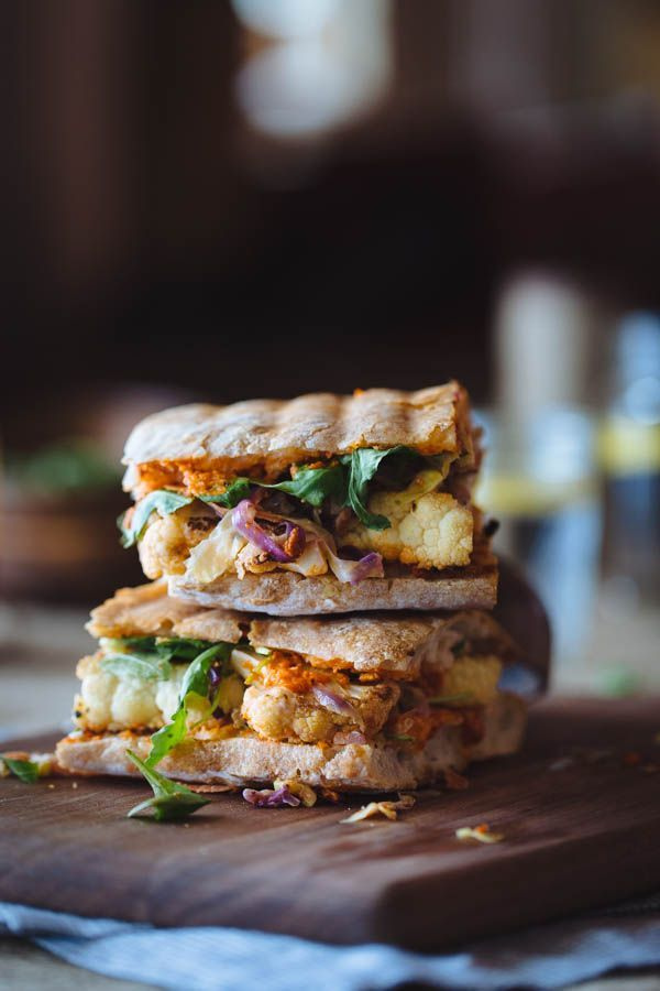 Cauliflower Steak Sandwich with Romesco Sauce