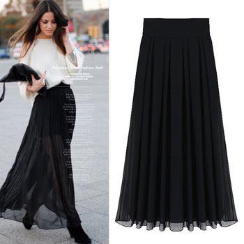 Длинные юбки из шифона лето