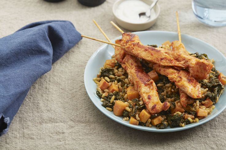 Harissa Chicken Skewers with Khorasan Wheat & Persimmon Salad; Jack LOVES! Make again. Could cook chicken without skewers.
