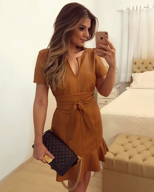 {Leather  Vestido couro caramelo by  @fortinaoficial }