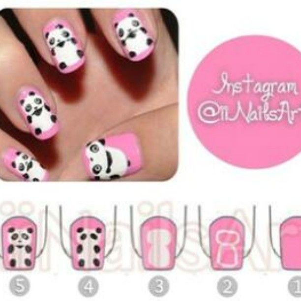 Best 25 panda nail art ideas on pinterest cool easy nail panda nail art prinsesfo Image collections