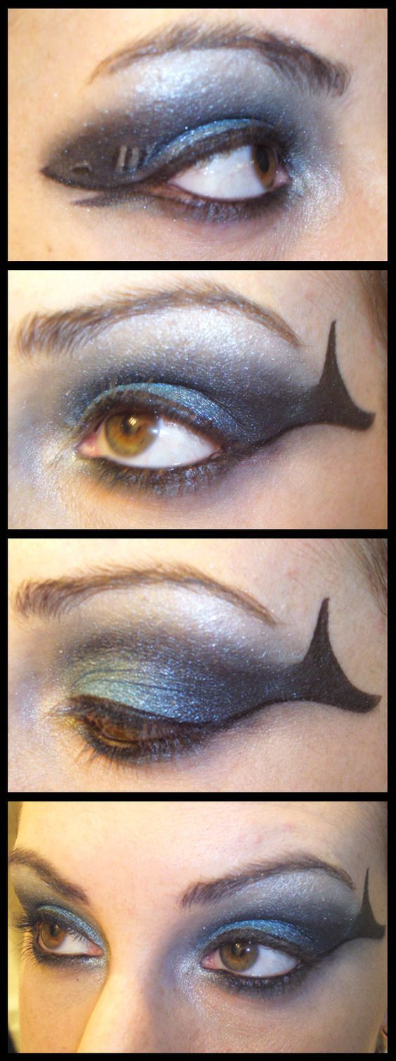 Unique Makeup Using Shark Idea, As Celebration of Shark Week