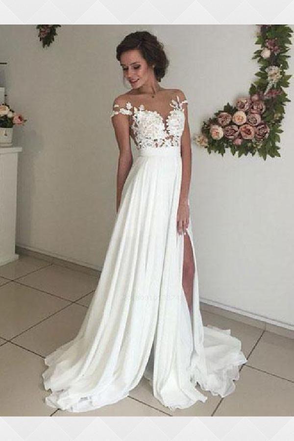 Ivory Wedding Dress Wedding Dress Chiffon Beautiful Prom Dress