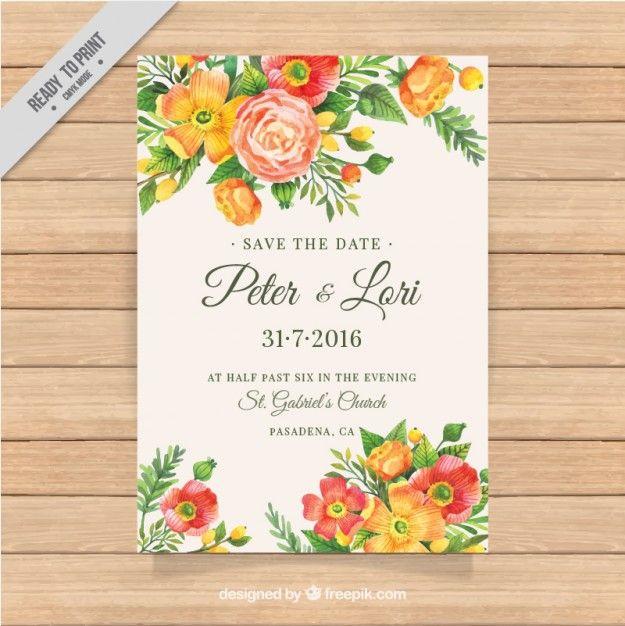 水彩花の詳細と優雅な結婚式の招待状 無料ベクター