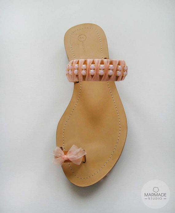 #sandals Wedding Sandals - Handmade Sandals, decorated with light pink ribbon and rhinestones