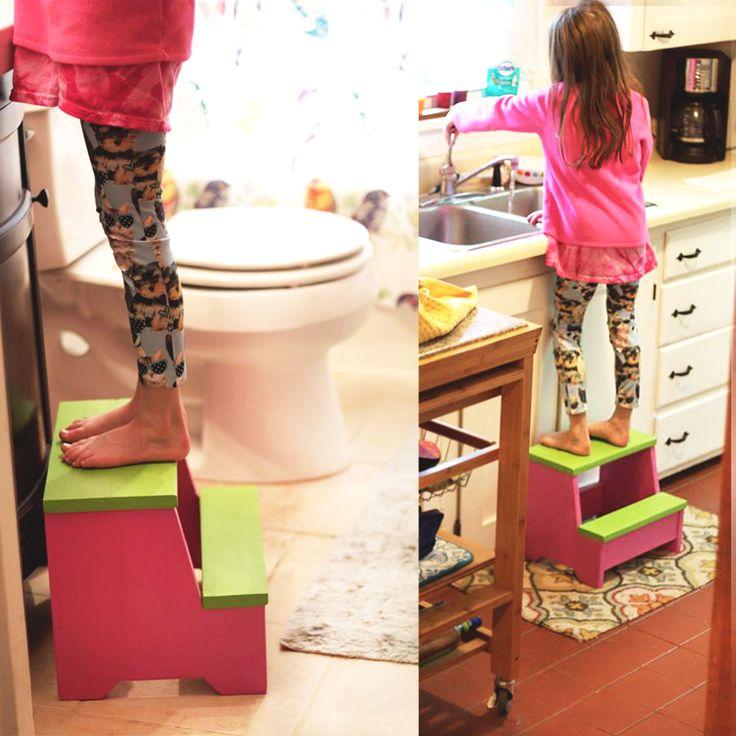 Custom Step Stool | wood stool | kids step stool | Home & Living | Furniture | Kids' Furniture | Steps & Stools | toddler step stool | custom step stool | hand painted | two step stool | kid gift | farmhouse stool | bathroom step stool | kitchen step stool | foot stool