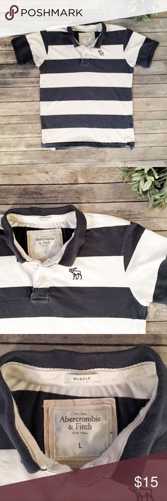 "Abercrombie & Fitch Mens Guys Striped Polo Shirt L Dark blue and white wide stripes, with the classic moose embroidered logo. Super soft fabric, on the thicker side.   ▪️Approx measurement.....Chest- 40""  ▪️ Fabric-100% cotton ▪️ Condition-a bit of fading, but no holes or stains.  ▪️ Preppy, hipster, muscle, rugby, varsity  Offers welcome Abercrombie & Fitch Shirts Polos"