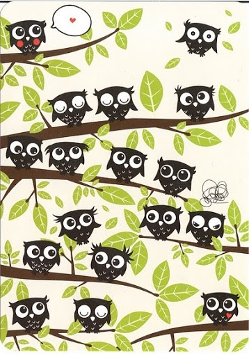 Owls--I love the little one hovering in the top right corner.