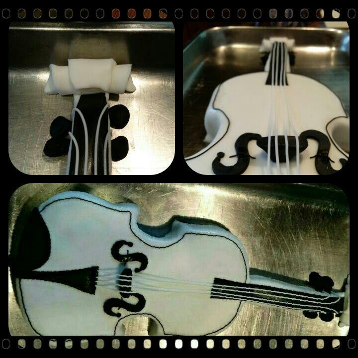 Geige in Weiß mit schokoladen Böden Nugartcreme
