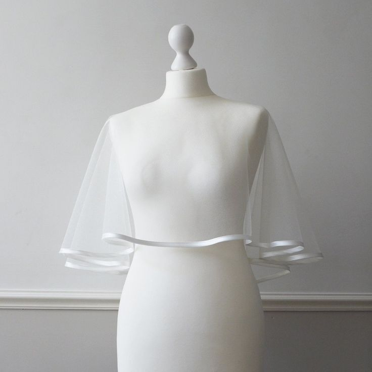 Ivory satin trimmed tulle bridal capelet - Chatham