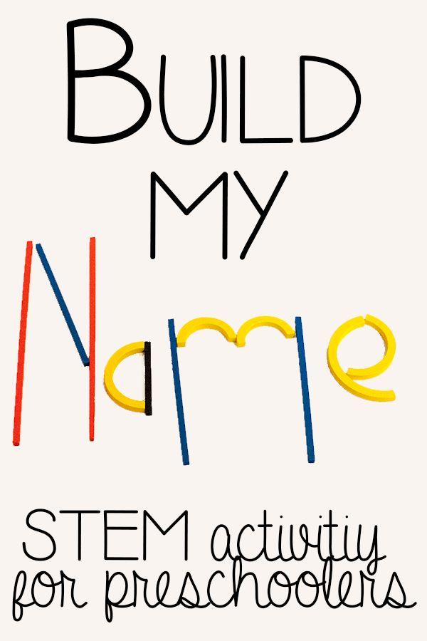 Build my Name STEM activity for preschoolers