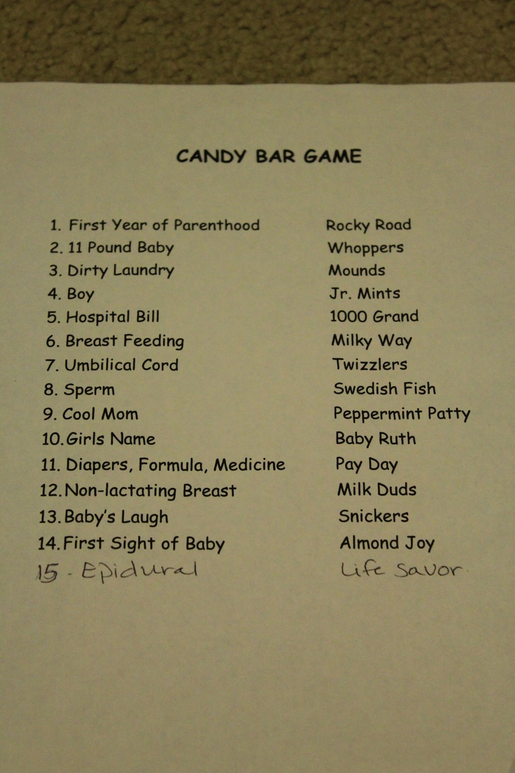 candy bar game answers candy bar baby sprinkle baby shower