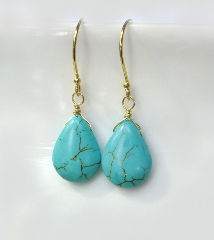 Turquoise Lariat Necklace - Sterling Silver or Gold