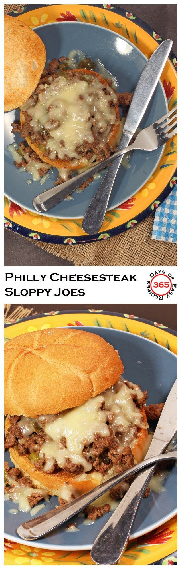 Philly Cheesesteak Sloppy Joe's using ground beef   365 Days of Easy Recipes