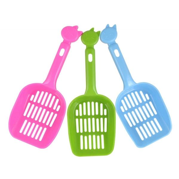 Cat Litter Scoop 25x9cm W Cat Head Handle 4asst Clrs | Pet Accessories | Cheap as Chips