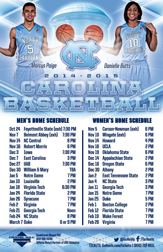 North Carolina Men's & Women's Basketball Schedule Magnet (2014-2015)