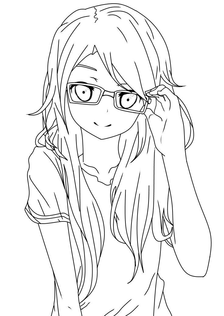 Girl With Glasses Lineart by salamandershadow.deviantart