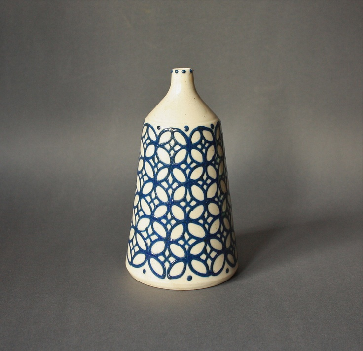 Vintage STUDIO Pottery Vase Patterned White and Blue.