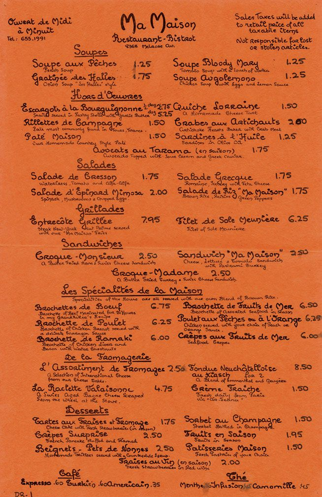 98 best vintage menus images on pinterest for Auberge ma maison