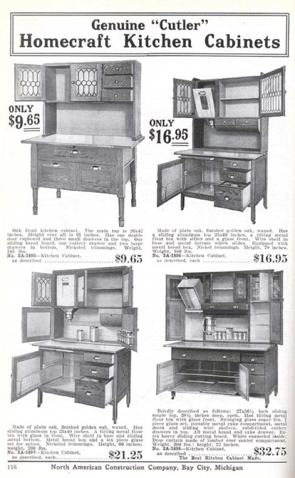 Homecraft kitchen cabinets from the Aladdin 1916 furnishing catalog.