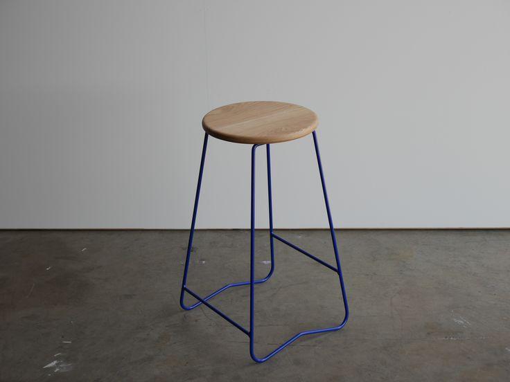HOPA BLU bar stool  American oak seat on space blue steel frame  hand made in Melbourne