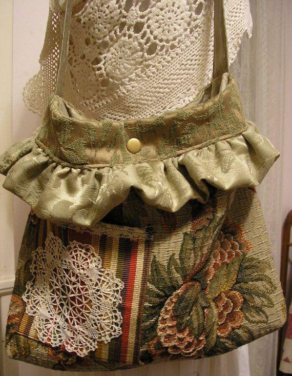 Bohemian Bag earth tone tapestry fabric bag by GrandmaDede on Etsy, $78.00