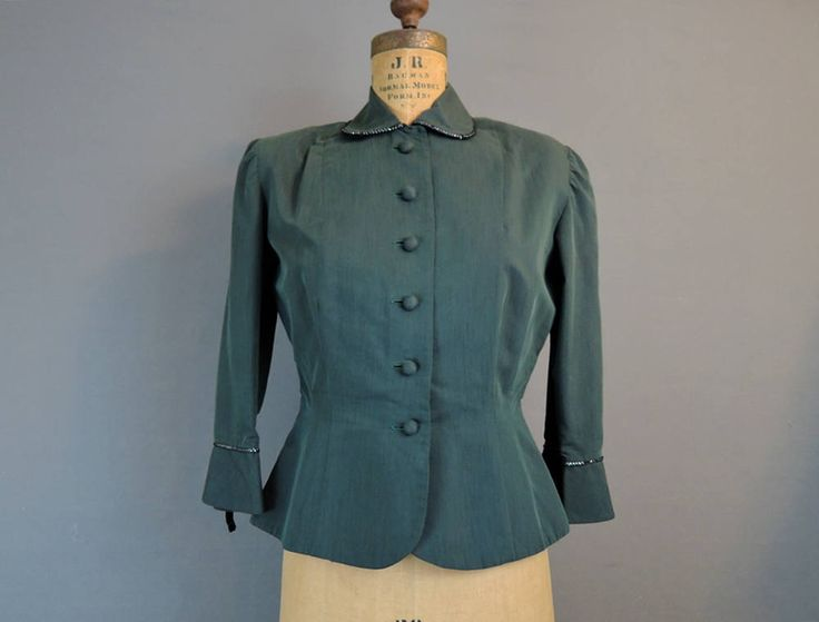 Vintage 1950s Dark Green Suit Jacket, fits 36 inch bust, Tailored Kabro of Houston