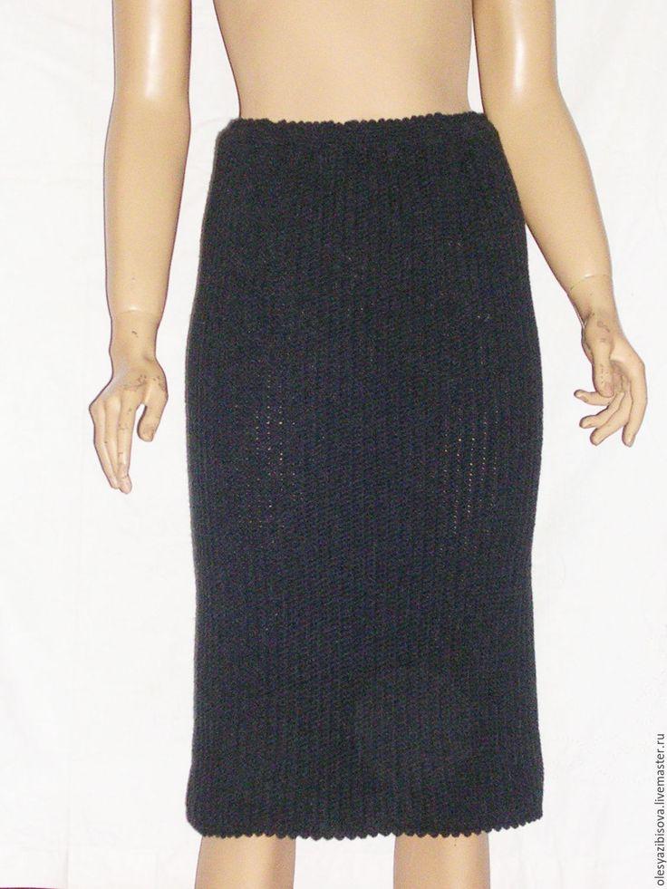 """Купить Вязаная юбка в деловом стиле """"Графит"""" - тёмно-зелёный, в полоску, юбка, юбка крючком"""