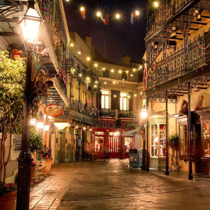 I love New Orleans Square at night. It's so pretty. :) #disneyland60 #disneyland…