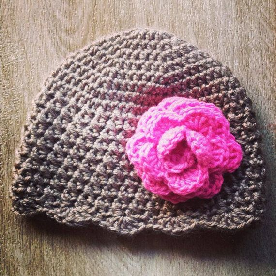 Hand crochet baby girl beanie with a rose by Handcraftforbabies